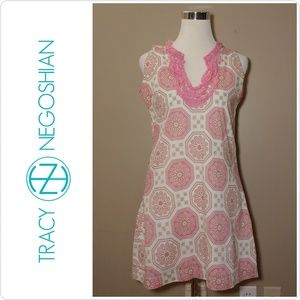 Tracy Negoshian Pink & White Geometric Dress
